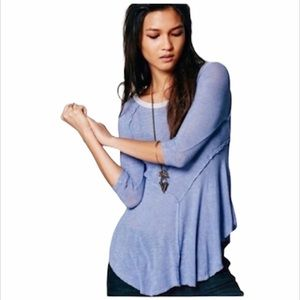 Free People Intimately Blue Asymmetrical Tunic Top